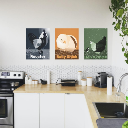 white kitchen with digital wall art, a rooster at moonlight, a hatching chick in sandy orange, and a hen with a baby chick in monochrome green hues