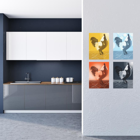 a blue kitchen wall decor showing a proud rooster kitchen wall decor as a quartet in monochrome hues of yellow, light blue, orange, and dark blue