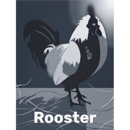 midnight blue kitchen decor, rooster at full-moon, canvas print