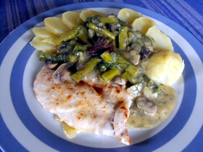 fish fillet with asparagus, mushroom, mustard sauce