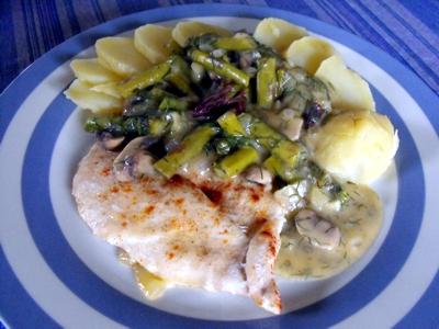 fish fillet with asparagus, mushroom, mustard sauce