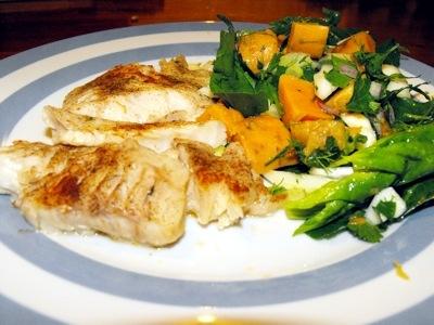 hoki with kumara salad