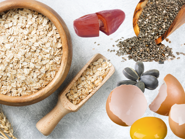 Oats, dates, seeds, raw eggs are ingredients to add to a smoothie to replace a meal