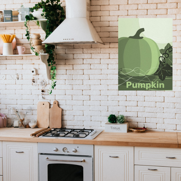moss-green wall hanging in form of a green pumpkin in a country-style kitchen