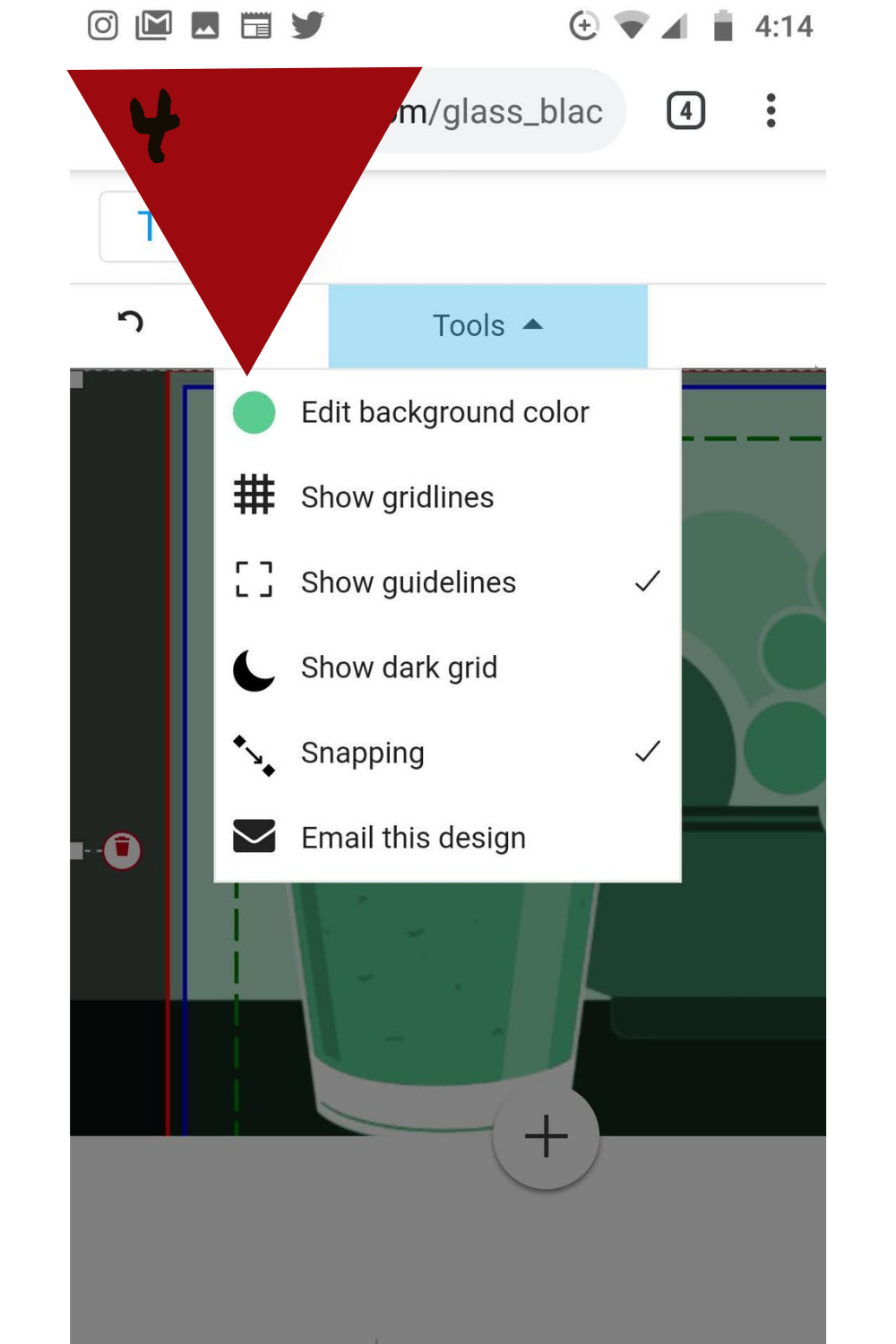Step 4: Clicking the colored dot at the top of the menu brings you to the menu to manipulate the background color.