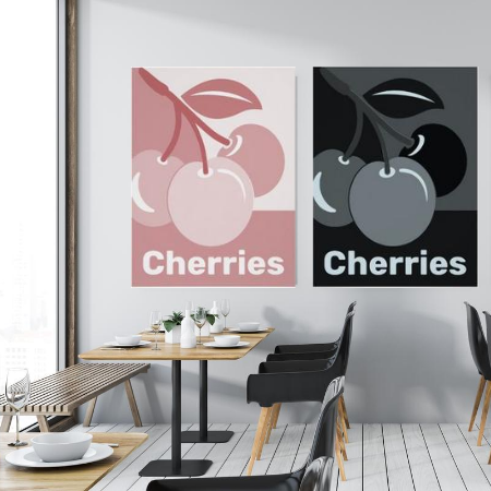 cherry posters wall decor in a cafe, pink-white and blue-grey