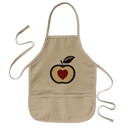 kids cooking apron with food to grow logo