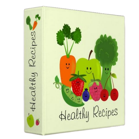 Healthy Recipes Binder, with fruit and vegetable cartoon like print