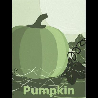 green pumpkin wall art on canvas