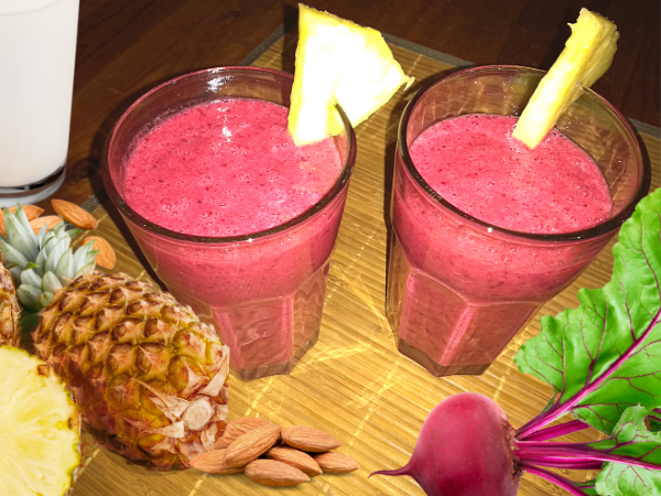 Beetroot Smoothie With Banana And Pineapple
