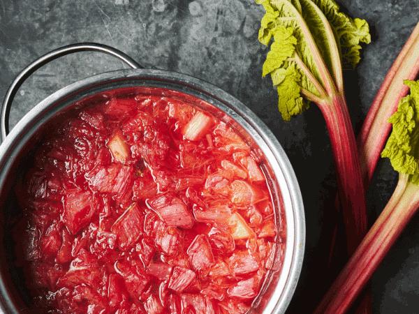 rhubarb sauce in saucepan
