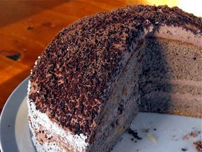 Chocolate cake, cut