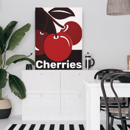 Cherries, black white red canvas print in open floor kitchen dining area