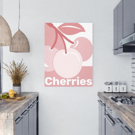 a grey kitchen showing a monochrome digital art print on canvas, cherries in hues of white and pastel rose