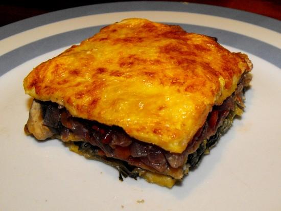 Tamarillo, mushroom and spinach lasagna