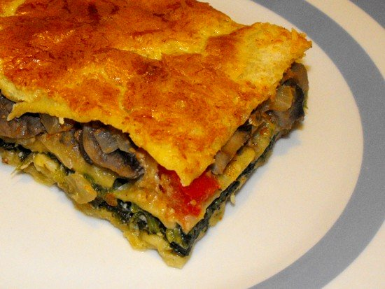 spinach, mushroom, tomato - vegetarian lasagna