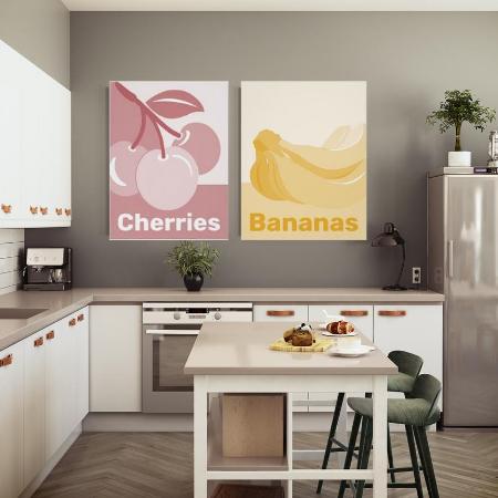poster whitish yellow bananas and pinkish white kitchen wall decor