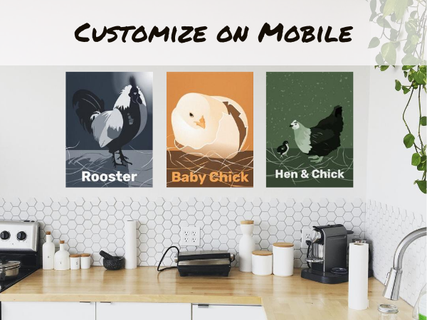 white kitchen showing digital art poster prints of a rooster at moonlight, a hatching chicken in sandy orange and a hen with her baby chick in green