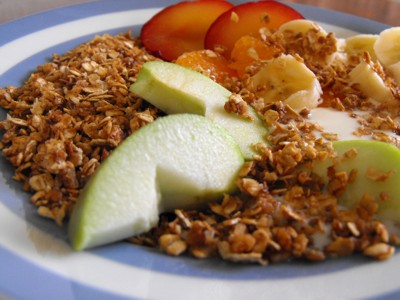 Oats toasted with yoghurt and fruits